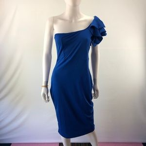 One Shoulder Dress Party Large Blue Pleated Ruffle